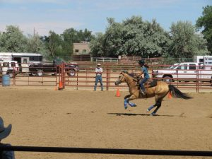 A young rider and horse in a class in the outdoor arena at the Boulder County fairgrounds competing in a St. Vrain Roundup Club show.