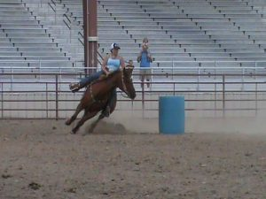 Timed events, like barrel racing give St. Vrain Roundup Club members and opportunity to compete and build their skills in events like barrel racing.