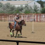 A horse and rider work through a gymkhana event at a St. Vrain Roundup Club show.